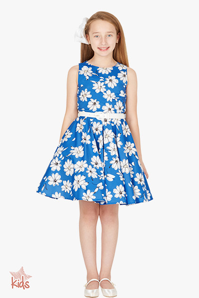 Kids 'Audrey' Vintage Daisy 50's Dress - Royal Blue