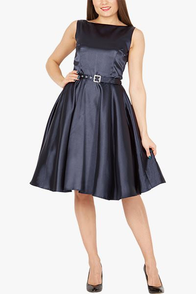 'Audrey' Vintage Satin Clarity 50's Dress - Midnight Blue