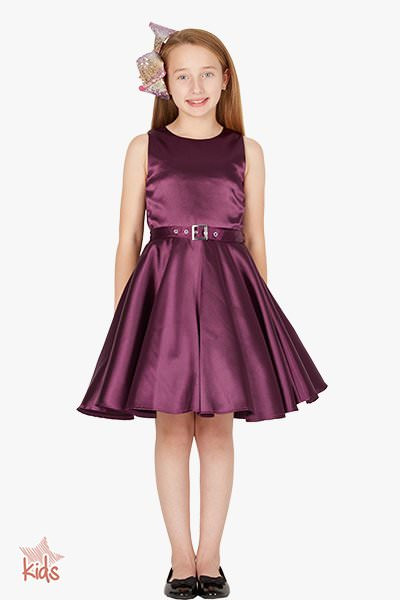 Kids 'Audrey' Vintage Satin Clarity 50's Dress - Dark Purple