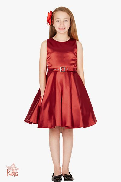 Kids 'Audrey' Vintage Satin Clarity 50's Dress - Burgundy