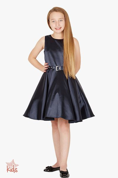 Kids 'Audrey' Vintage Satin Clarity 50's Dress - Midnight Blue