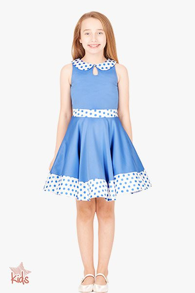 Kids 'Zoey' Vintage Polka Dot 50's Dress - Blue
