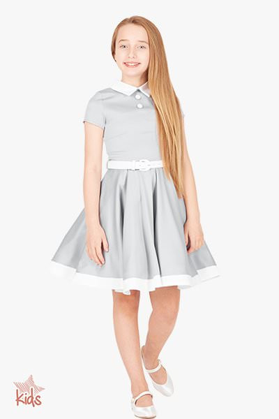 Kids 'Lucy' Vintage Clarity 50's Dress - Silver