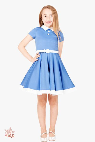 Kids 'Lucy' Vintage Clarity 50's Dress - Blue