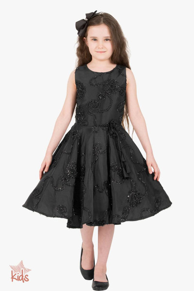 Kids 'Audrey' Vintage Satin Floral 50's Dress - Black