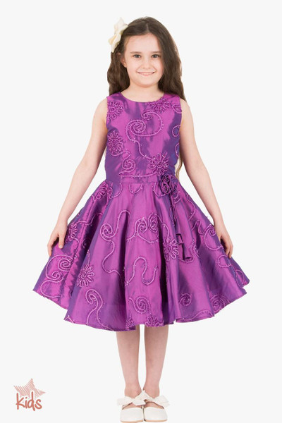 Kids 'Audrey' Vintage Satin Floral 50's Dress - Purple