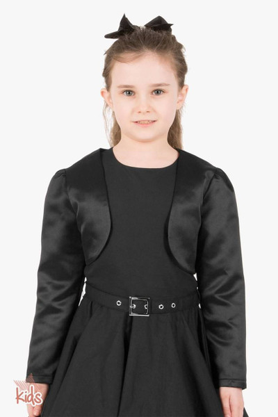 Kids Satin Long Sleeve Bolero Shrug - Black