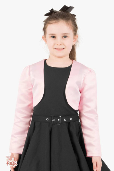 Kids Satin Long Sleeve Bolero Shrug - Pink