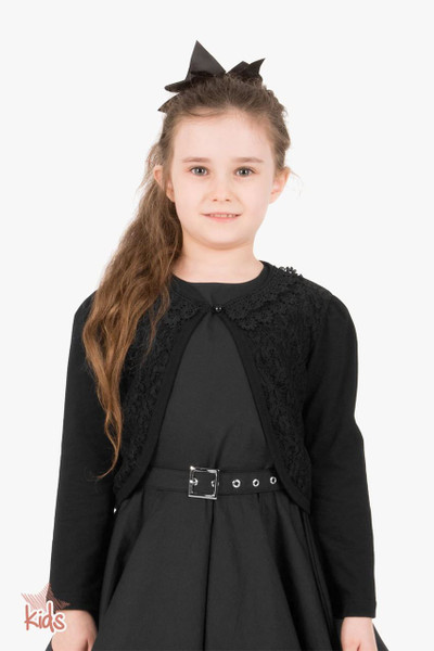 Kids Long Sleeve Lace Bolero Cardigan - Black