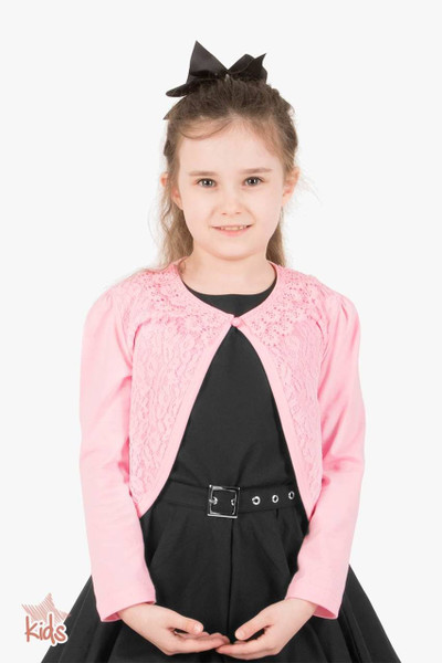 Kids Long Sleeve Lace Bolero Cardigan - Pink