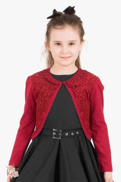Kids Long Sleeve Lace Bolero Cardigan - Burgundy