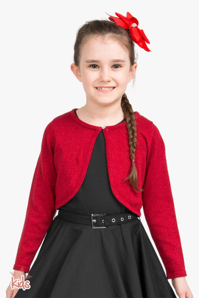 Kids Long Sleeve Sparkly Cardigan - Red