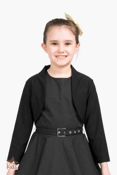 Kids Tailored 3/4 Sleeve Bolero - Black