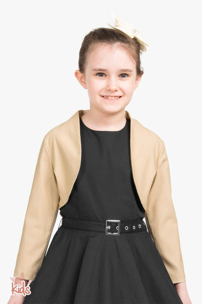 Kids Tailored 3/4 Sleeve Bolero - Champagne