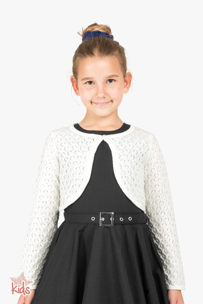 Kids Long Sleeve Pointelle Knit Bolero - Off-White