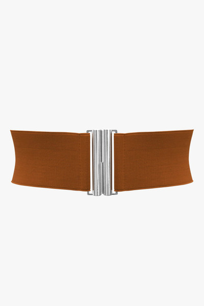 3 Inches Wide Vertical Buckle Elastic Belt - Brown