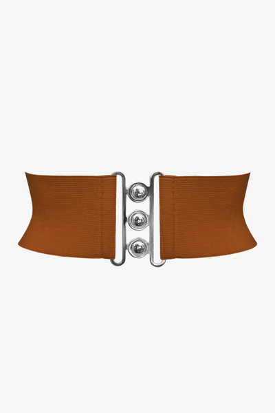 3 Inches Wide Clasp Buckle Elastic Belt - Brown