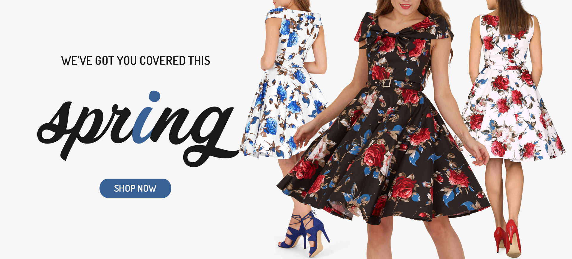 We've got you covered this Spring. Shop our vintage spring dress collection now for your perfect 1950s inspired retro look!