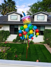 Happy Birthday Rainbow Cake Balloon Bouquet Pole