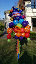 Happy Birthday Blue Star Balloon Bouquet Pole