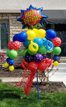 Happy Birthday Comic Book Balloon Bouquet Pole