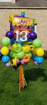 Happy Birthday Cake Slice Balloon Bouquet Pole