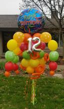 Happy Birthday Blue Streamers Balloon Bouquet Pole