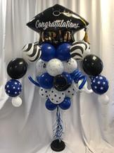 Graduation-Congrats Grad Hat Balloon Bouquet Pole [Customize with School Colors]