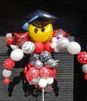 Graduation-Smiley Face Balloon Bouquet Pole [Customize with School Colors]