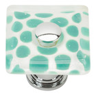 3228-CH Emerald Polka Dot Square Glass Knob Polished Chrome