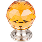 "TK111BSN Amber Crystal Knob 1 1/8"" w/ Brushed Satin Nickel Base"
