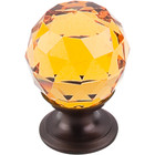 "TK111ORB Amber Crystal Knob 1 1/8"" w/ Oil Rubbed Bronze Base"