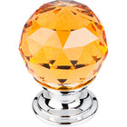 "TK111PC Amber Crystal Knob 1 1/8"" w/ Polished Chrome Base"