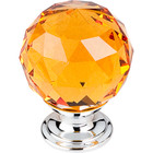 "TK112PC Amber Crystal Knob 1 3/8"" w/ Polished Chrome Base"