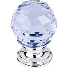 "TK113PC Light Blue Crystal Knob 1 1/8"" w/ Polished Chrome Base"