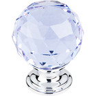 "TK114PC Light Blue Crystal Knob 1 3/8"" w/ Polished Chrome Base"