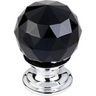 "TK115PC Black Crystal Knob 1 1/8"" w/ Polished Chrome Base"