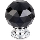 "TK116PC Black Crystal Knob 1 3/8"" w/ Polished Chrome Base"