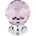 "TK117PC Pink Crystal Knob 1 1/8"" w/ Polished Chrome Base"