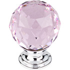 "TK118PC Pink Crystal Knob 1 3/8"" w/ Polished Chrome Base"