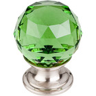 "TK119BSN Green Crystal Knob 1 1/8"" w/ Brushed Satin Nickel Base"