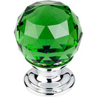 "TK119PC Green Crystal Knob 1 1/8"" w/ Polished Chrome Base"