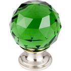 "TK120BSN Green Crystal Knob 1 3/8"" w/ Brushed Satin Nickel Base"