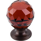 "TK121ORB Wine Crystal Knob 1 1/8"" w/ Oil Rubbed Bronze Base"
