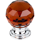 "TK121PC Wine Crystal Knob 1 1/8"" w/ Polished Chrome Base"