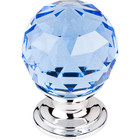"TK123PC Blue Crystal Knob 1 1/8"" w/ Polished Chrome Base"