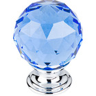 "TK124PC Blue Crystal Knob 1 3/8"" w/ Polished Chrome Base"