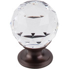 "TK125ORB Clear Crystal Knob 1 1/8"" w/ Oil Rubbed Bronze Base"