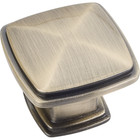 1091AB Knob Milan 1 Brushed Antique Brass 1-3/16""