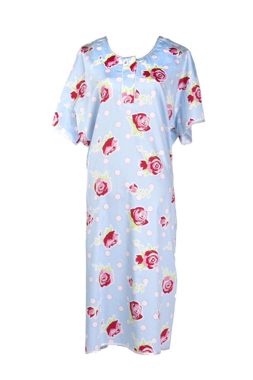Red Roses Hospital Gown with Blue Background - Gorgeous Hospital Gowns